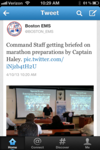 Twitter post from Boston EMS from this past weekend.