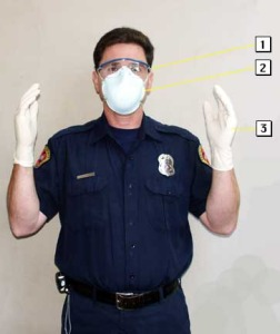 Typical personal protective equipment for EMS.  Credit: Santa Clara County FD.