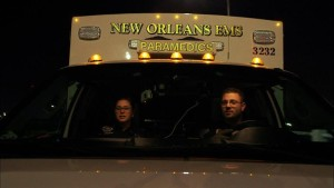 Holly and her partner Gavin.  Gavin left NOLA EMS after the second episode of the show.